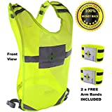 FIREFLY BUDDY Reflective Running Vest, Great For Cycling, Biking, Walking With FREE Arm Bands. Best Safety Gear...