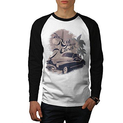 Vero americano Muscolo Mustang Uomo Nuovo Bianca (Maniche Nere) M Baseball manica lunga Maglietta | Wellcoda
