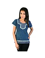 Jaipur RagaDesigner Silver Block Print Blue Cotton Top Blue Girls Kurti