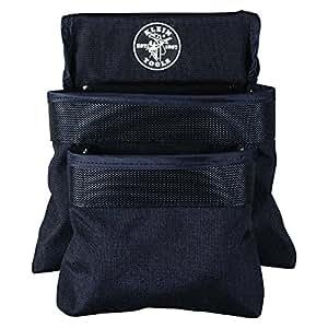 Klein Tools 5702 PowerLine 2-Pocket Utility Pouch, Black Nylon