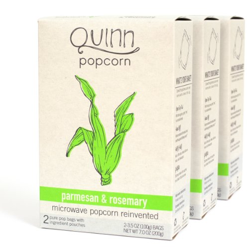 Quinn Popcorn: Microwave Popcorn Reinvented {Parmesan & Rosemary} - 3 Boxes (2 3.5Oz/100G Bags Per Box; 6 Bags Total)