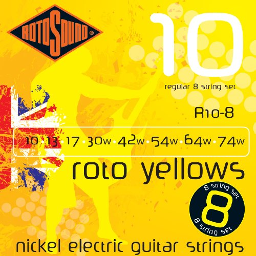 Rotosound R10-8 Nickel Plated Yellow 8 Electric Guitar Strings, Custom