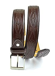 Moda Di Raza-Men's Rustic Leather Belt - Brown/L