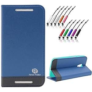 DMG Moto G2 Flip Cover, DMG PRaiders Premium Magnetic Wallet Stand Cover Case for Motorola Moto G2 (Pebble Blue) + Mini Touch Screen Stylus
