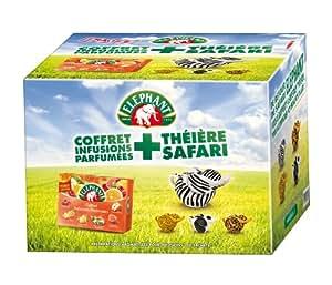Elephant Coffret Infusions Parfumées + 1 Théière Collector imprimé Safari