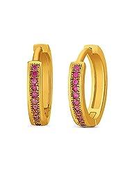 Mahi Gold-Plated Hoop Earring For Women Gold - ER1109315GRed