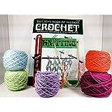 Beginners Crochet and knitting starter kit - learn how to Crochet and knit includes crochet hook , knitting needles yarn instruction booklet