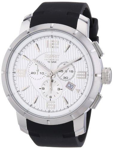 Esprit EL101921F01 - Reloj cronógrafo de cuarzo para hombre con correa de silicona, color negro