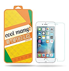 Cool Mango Tempered Glass Screen Protector & Shield for Apple iPhone 6 with Installation Kit and Instruction Manual - HD clarity + Best scratch and shatter protection + Highest touch screen accuracy + Oil and water repellent coating + Laser cut round edges + 9H hardness + .3 mm thickness + 2.5 d curved