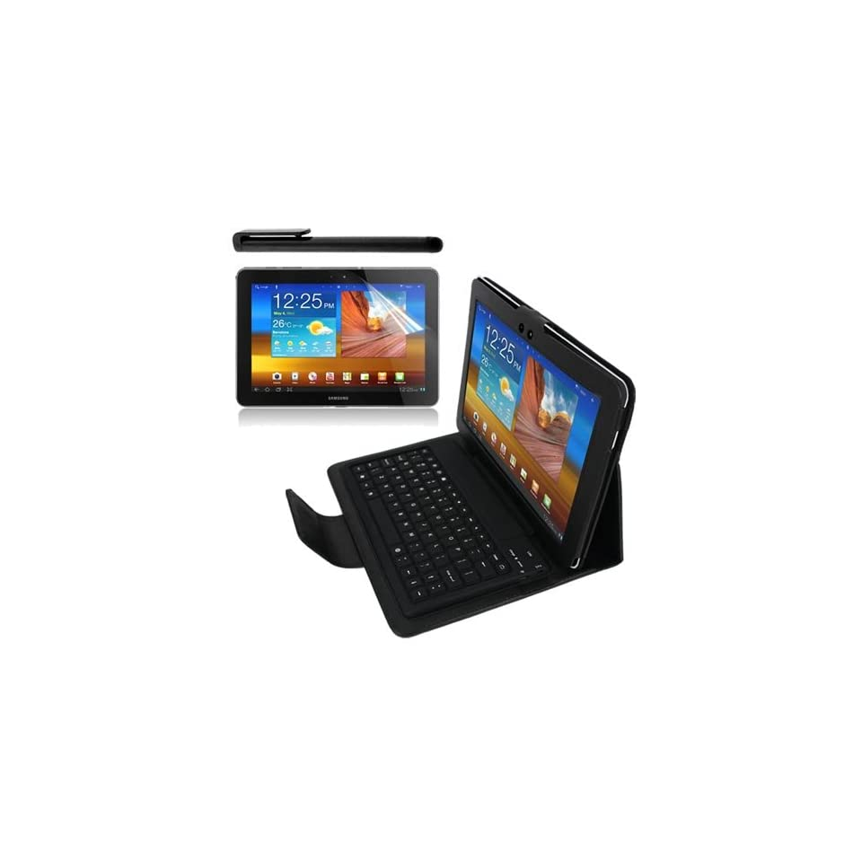 Premium LCD Clear Screen Protector + Black Leather Case With Bluetooth Keyboard + Black Screen Touch Stylus Pen for Samsung Galaxy Tab 10.1 P7510 By Skque