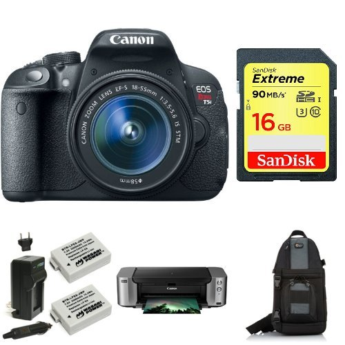 Canon EOS Rebel T5i Digital SLR with 18-55mm STM Lens + PIMXA Pro 100 Printer, Photo Paper, Memory Card, Bag and Battery