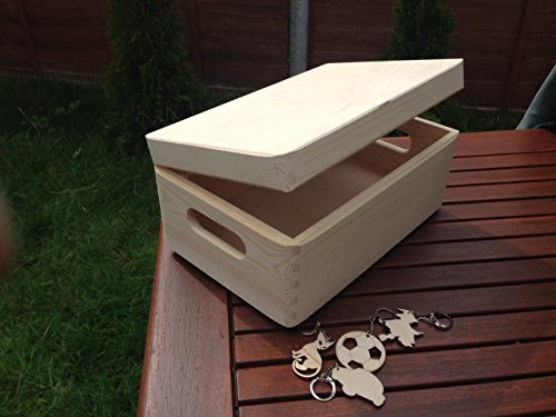 Uni brut-Bricolage-Boîte à outils en bois avec coffre de rangement avec anses - 30 x 20 x 14 cm