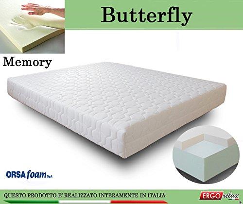 Materasso Memory Mod. Butterfly Anallergico Sfoderabile Altezza Cm. 21 - Ergorelax - matrimoniale - 160 cm x 190 cm