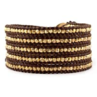 Chan Luu Gold Vermeil Wrap Bracelet on Brown Leather