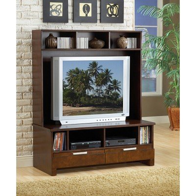 Cheap Bernards Furniture Espresso Plasma TV Stand with Hutch (7981, 7980)