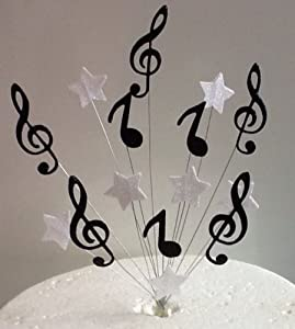 Cake Decorating Music Notes : Black & White Music Notes & Stars Cake Topper: Amazon.co ...