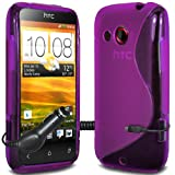 ONX3 - TRIPLE PACK - HTC Desire C Purple Wave Gel Skin Case Cover + Micro USB In Car Charger + LCD Screen Protector Guard