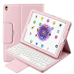 iPad Pro 9.7 Keyboard Case, Xboun Ultra Slim PU Leather [Magnetically Detachable] Wireless Bluetooth Keyboard Stand Smart Cover with Auto Wake / Sleep for Apple iPad Pro 9.7 Inch(2016) (Pink)