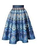 Relaxfeel ハイウエスト クラシック チュールスカート Aライン ロングスカート ウエストゴム メモリーフォーム ブルー