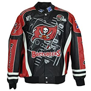 NFL National League Tampa Bay Buccaneers Leather Mens Biker Jacket Sweater by NFL Licensed Apparel
