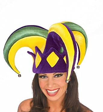 Rubie's Costume Mardi Gras Royale Jester Hat, Purple/Gold/Green, Adult