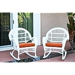 Jeco W00209-R_2-FS016-CS Wicker Rocker Chair with Orange Cushion, Set of 2, White