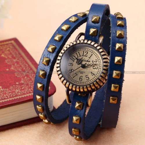 AMPM24 Women Lady Wrap Around Triple Strap Blue Bracelet Long Wrist Quartz Watch Gift