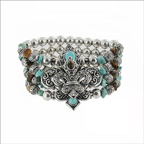 JOA Two Fleur De Lis W Four Line Bead Bracelet #040326