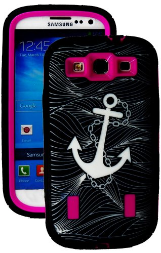 Mylife Black And Hot Pink - Anchor At Sea Armor Series (Durable Built In Screen Protector + Urban Body Armor Glove) Case For Samsung Galaxy S3 Gt-I9300 And Gt-I9305 Touch Phone (Thick Silicone Outer Gel + Tough Rubberized Internal Shell)