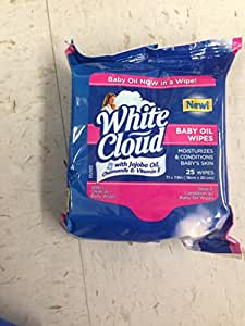 Buy White Cloud Baby Oil Wipes 1 Pack 25 Wipes Online
