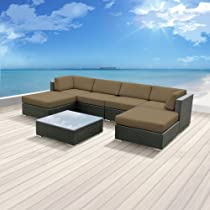 Hot Sale Luxxella Outdoor Patio Wicker MALLINA Sofa Sectional Furniture 7pc All Weather Couch Set TAUPE