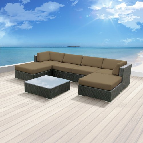 Luxxella Patio Mallina Outdoor Wicker Furniture 7-Piece All Weather Couch Sofa Set, Taupe image