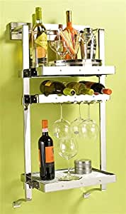 18 in. Wall Mounted Wine Rack (Polished Chrome)