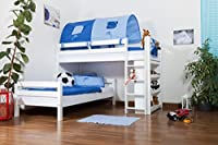 Children's bed / Bunk bed Moritz L solid beech wood, in a white paint finish, comes with shelf, includes slatted frame - 90 x 200 cm