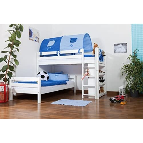 Children's bed   Bunk bed Moritz L solid beech wood, in a white paint finish, comes with shelf, includes slatted...