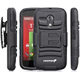 Fosmon STURDY Shock Absorbing Dual Layer Hybrid Holster Cover Kickstand Case for Motorola Moto G (1st Generation Only) / Motorola DVX - Retail Packaging (Black)