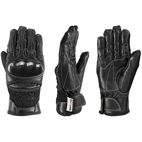 MOTERO Man Leather Motorcycle Gloves (Summer) - Full Finger, Vented, Adjustable - Carbon Kevlar Knuckle Protectors - Motorbike Accessories (XX-Large, black)