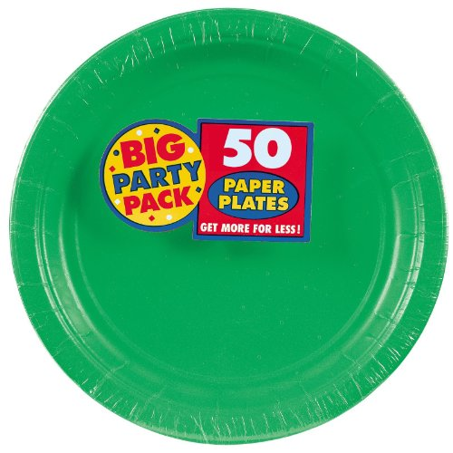 Find Cheap Amscan Amscan Festive Green Big Party Pack Dinner Plates (50 Count), 1, green