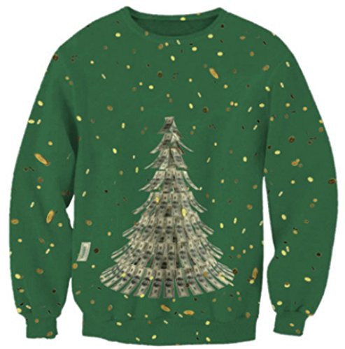 Women Christmas Sweater 3D Printed Long Sleeve T-Shirt / Green-Dollar Tree