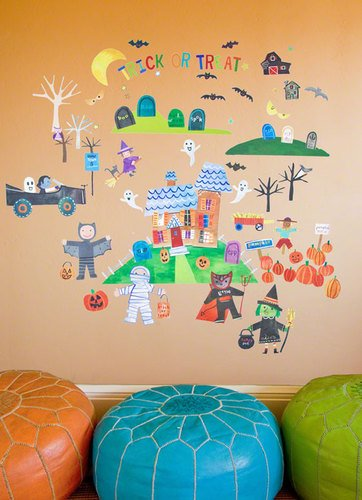 Oopsy Daisy Peel and Place Happy Halloween by Jill McDonald, 54 by 60-Inch
