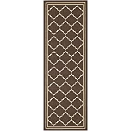 Safavieh Courtyard Collection CY6889-204 Chocolate and Cream Indoor/ Outdoor Runner, 2 feet 3 inches by 10 feet (2\'3\