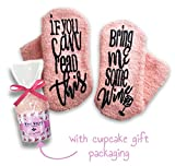 Passionette Fuzzy Wine Socks: If You Can Read This Bring Me A Glass Of Some Wine Novelty Socks - Gift Idea for Her - Housewarming, Anniversary, 21st Birthday with Cupcake Gift Packaging