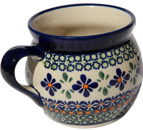 Polish Pottery Potbelly Coffee Mug 17 Oz. From Zaklady Ceramiczne Boleslawiec #910-Du60 Unikat Pattern, Capacity: 17 Oz.