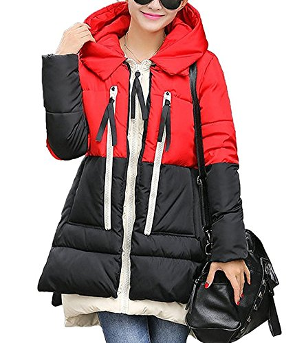 Zando Women's Thicken Warm Winter Coat Hood Parka Overcoat Long Jacket Outwear Red/Black 3XL
