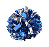 2 Of Metallic Foil & Plastic Ring Pom Poms Cheerleading Poms BLUE+SILVER
