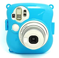 CAIUL Transparent Crystal Protective Instax Mini Case for Fujifilm Instax Mini 25 Instant Cameras,Blue