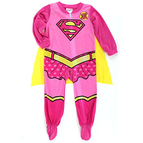 [Supergirl Baby Toddler Poly Sleeper Pajamas with Cape (12M, Pink Supergirl Costume)] (Comic Book Costumes Girls)