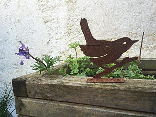 Gartendeko vogel piepmatz baumtier metall rost deko for Gartendeko metall vogel