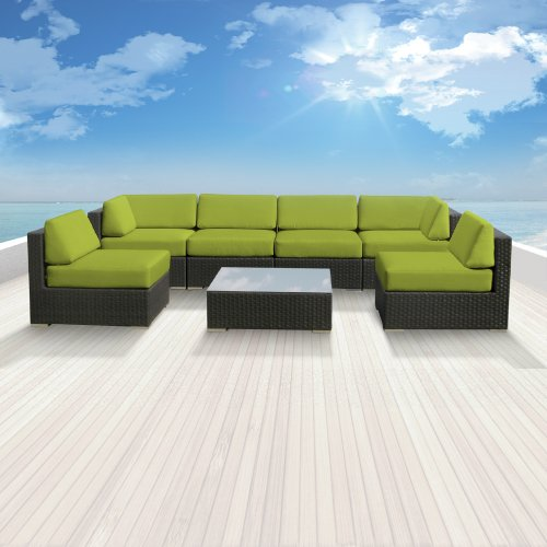 Luxxella Patio Bella Genuine Outdoor Wicker Furniture 7-Piece Gorgeous Couch Sectional Sofa Set, Peridot photo