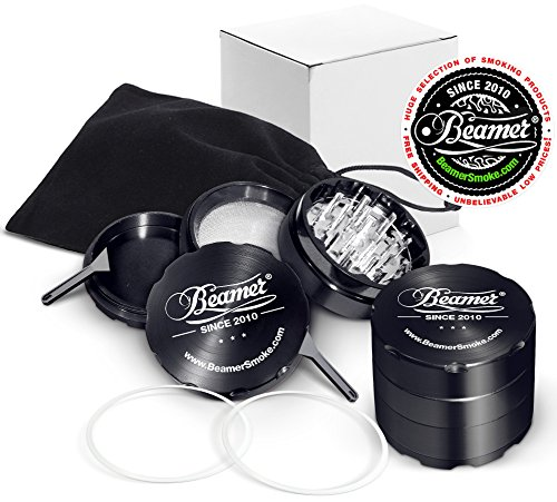 U-PICK-COLOR-Ultra-Premium-Beamer-Smoke-50mm-4-Piece-Aircraft-Grade-Aluminum-29-Teeth-Grinder-Spice-Mill-w-Fine-Particle-Catcher-Neodymium-Magnet-2-O-Rings-2-Scrapers-Black-Travel-Bag-For-Tobacco-Coff